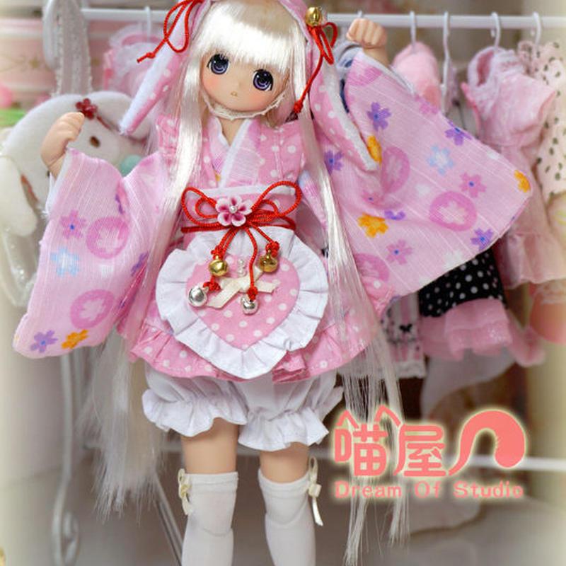 AZONE1/6 ドール衣装 ハンドメイド うさぎ 浴衣セット