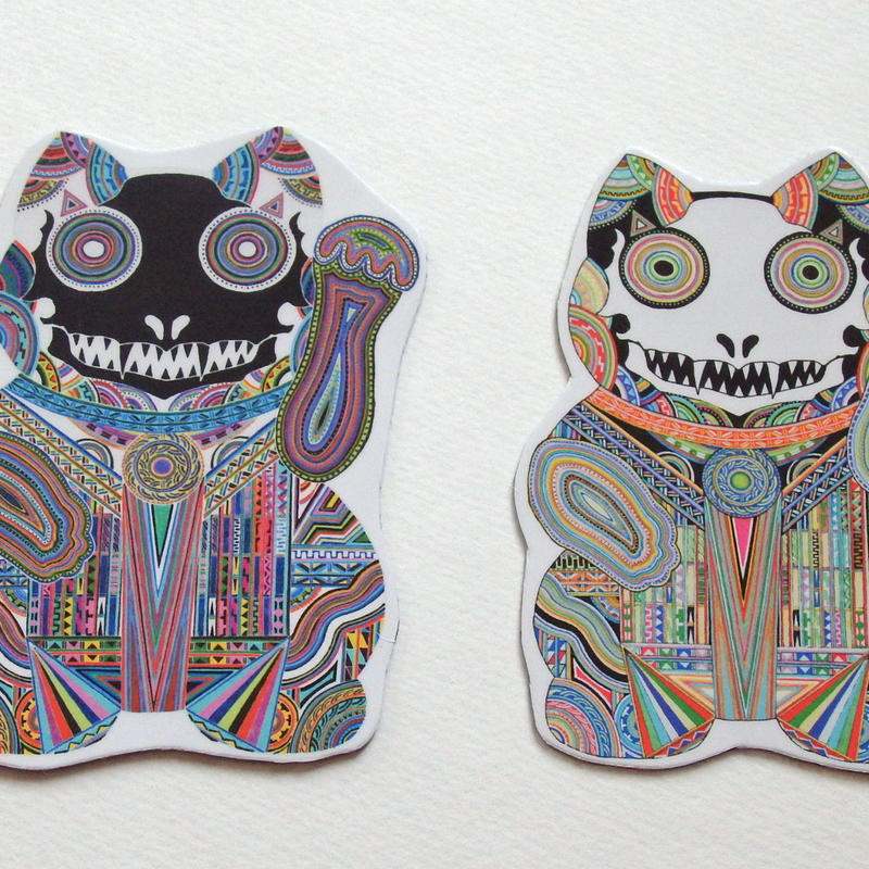 【マグネット】招き猫 白猫&黒猫