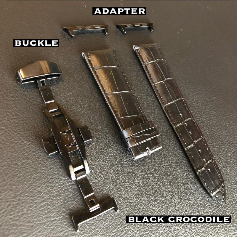 フルブラック本革クロコダイル型押ベルト バックルセット