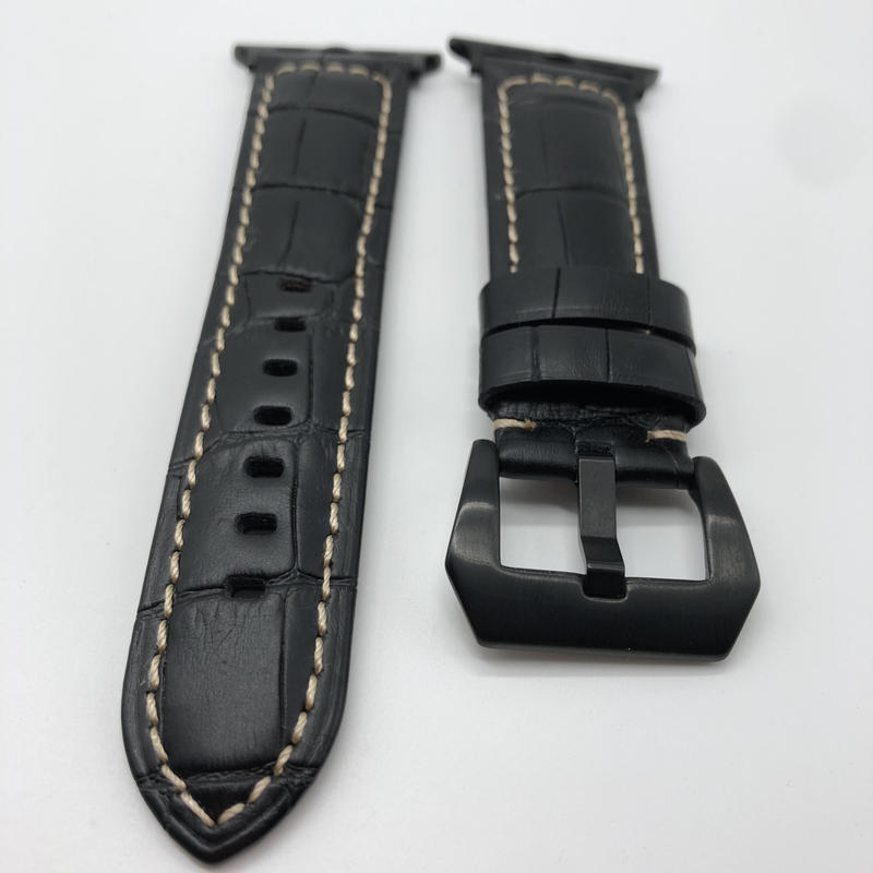 極厚 クロコダイル本革型押ベルト バックル