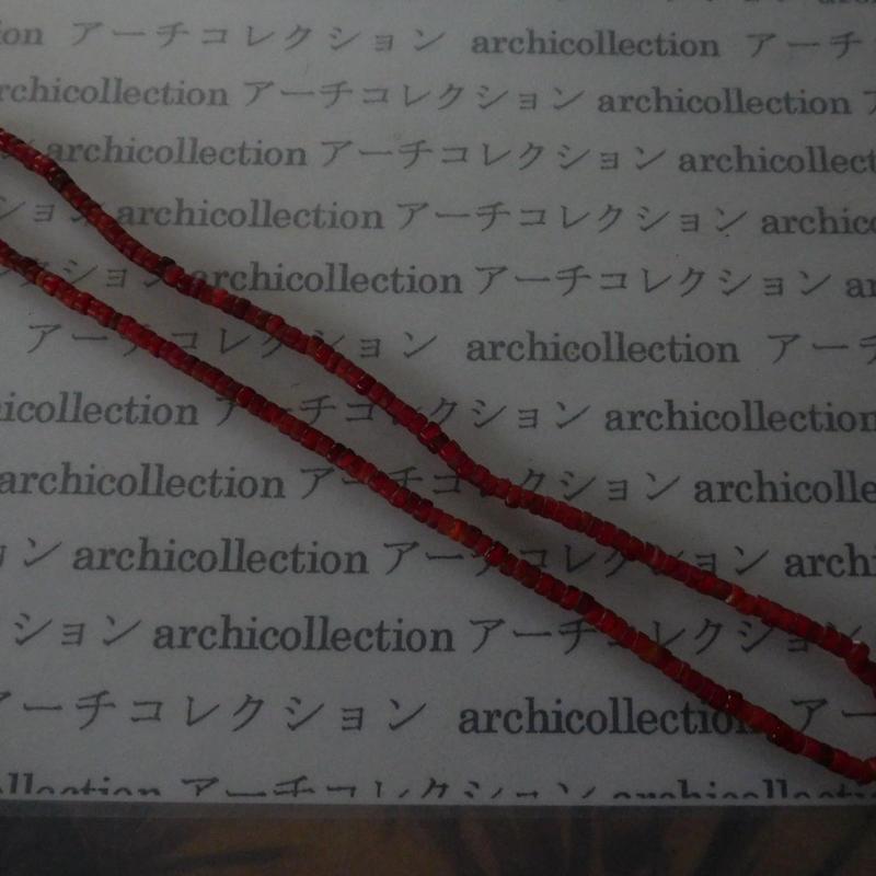 インドシナ 古ガラスビーズ 赤内白 一連大体60cm位 粒4-5-2-5mm