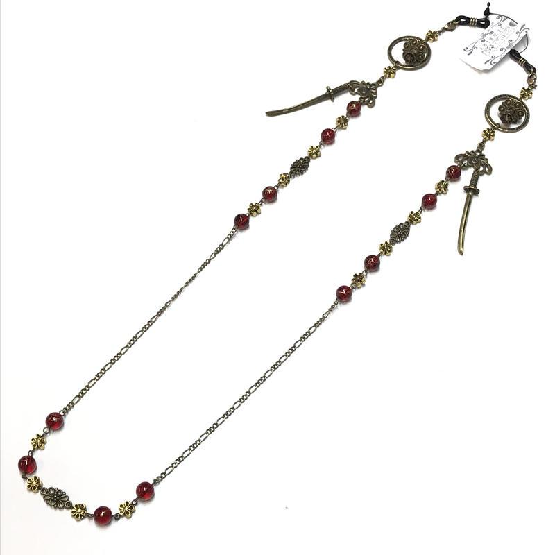 Phantom Jewelry/ファントムジュエリー 蝋燭と短刀のメガネチェーン 赤