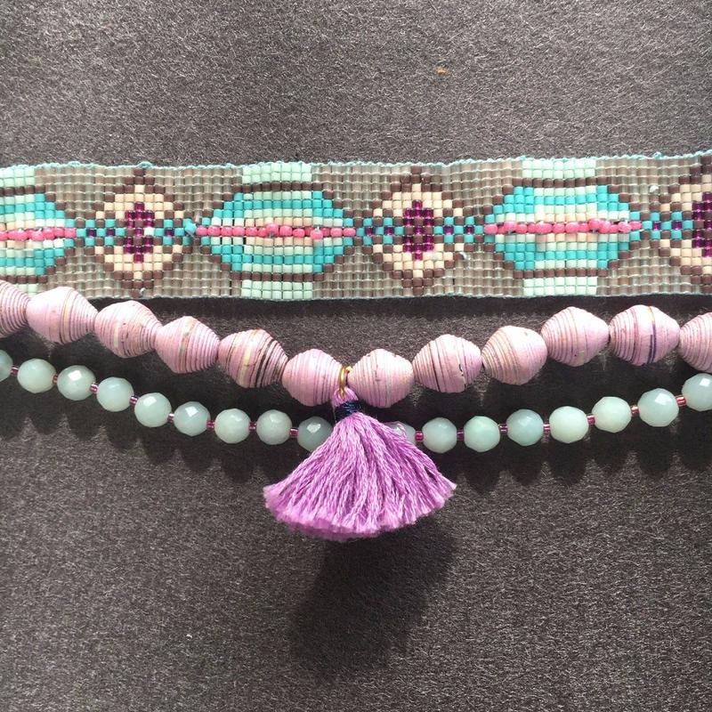 Macrame Beaded Bracelet / マクラメビーズブレスレット - アマゾナイト - 006