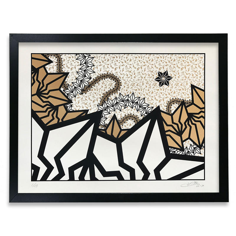 "BAKIBAKI screen print ""Gold River"" (額付)"