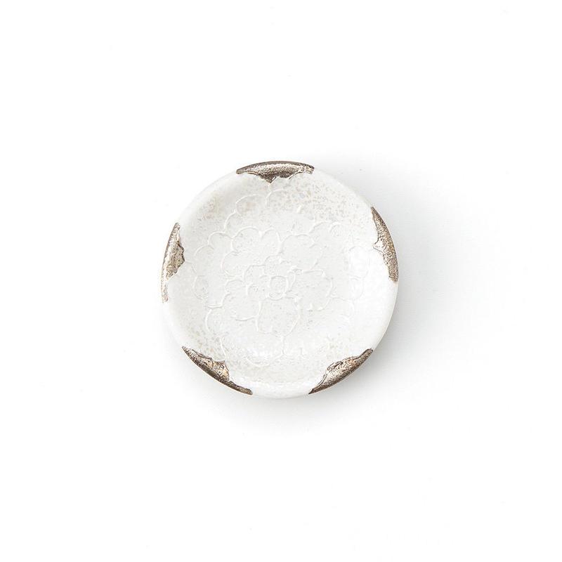 パール牡丹(プラチナ)丸豆皿