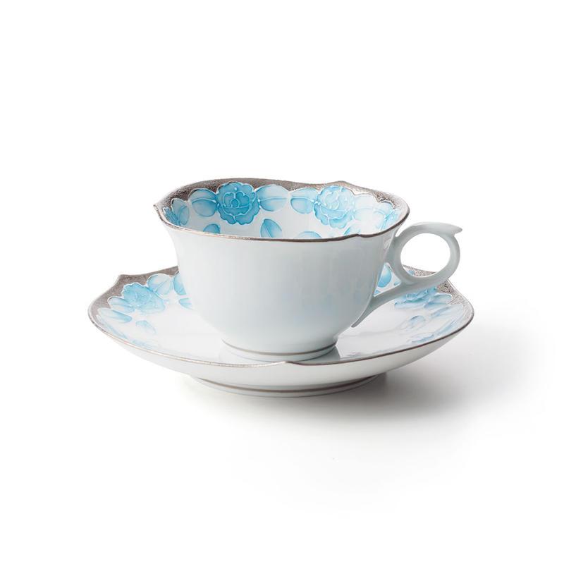 プラチナローゼ(ライトブルー) −輪花− カップ&ソーサー