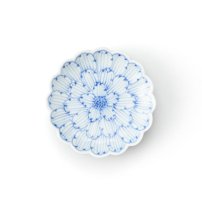 染付牡丹菊型 3.5寸皿