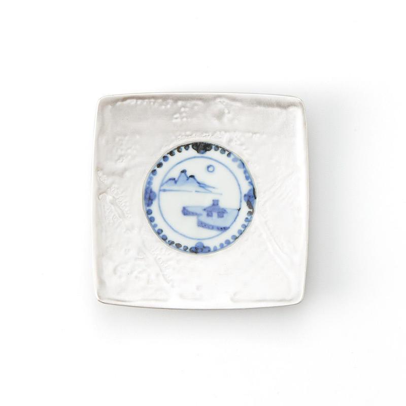 銀彩染付 山水 9cm角小皿