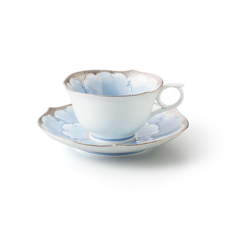 プラチナ牡丹(ブルー) −輪花− カップ&ソーサー