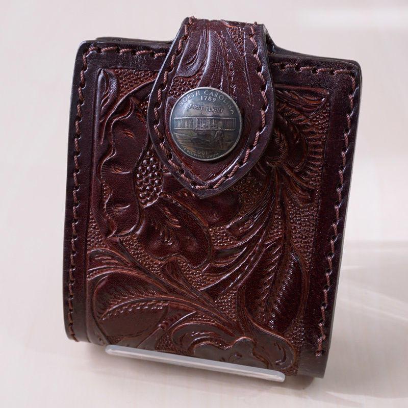 二つ折り財布  フラワー カービング 牛革 ダークブラウン