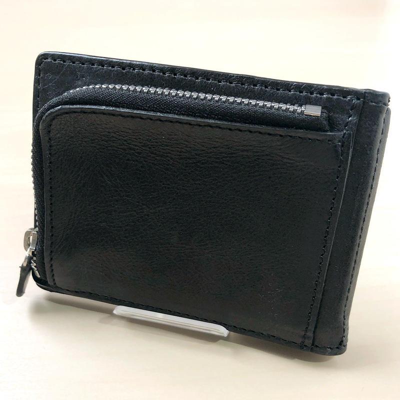 マネークリップ 二つ折り財布 牛革 レザー