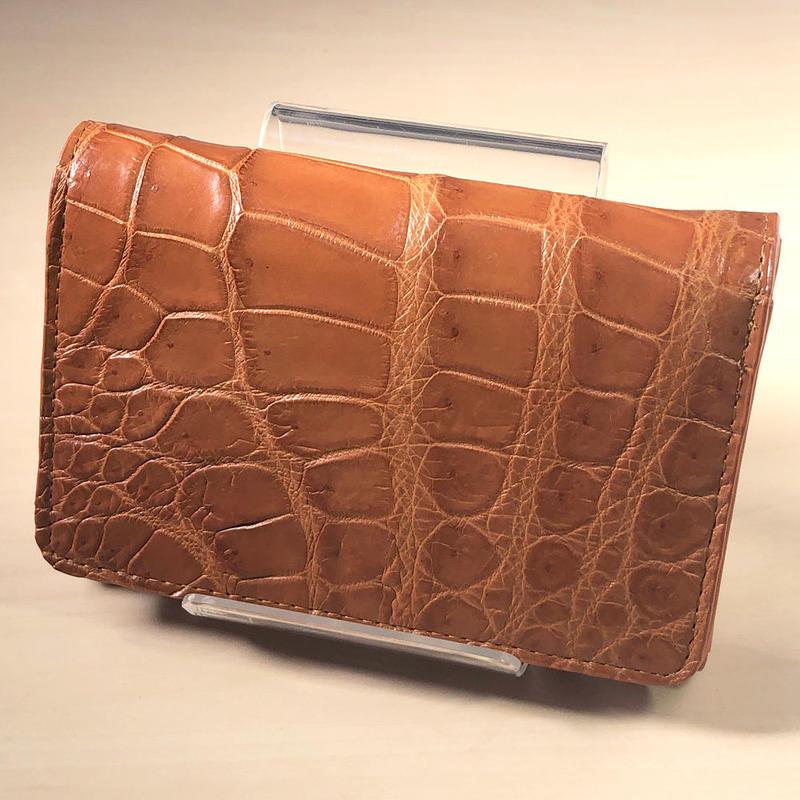 三つ折り財布 クロコダイル ブラウン レザー
