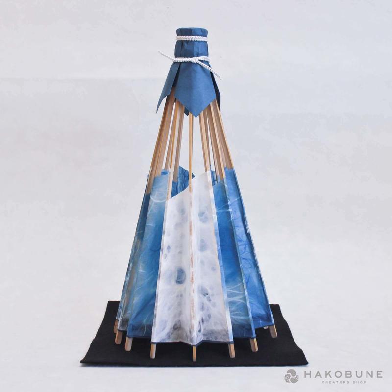 和傘あんどん青 LEDライト付き / 和傘工房初音