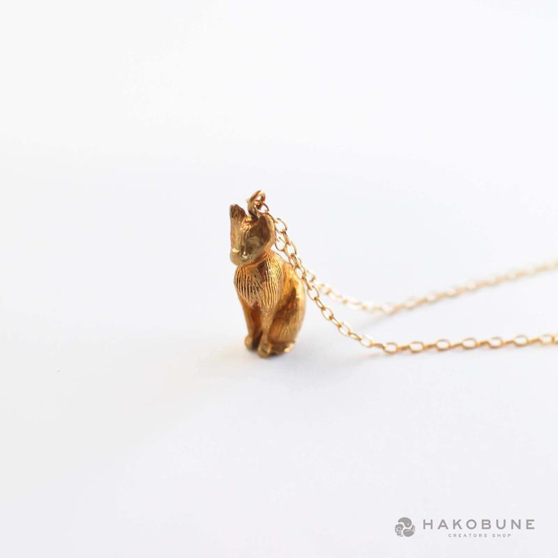 1359 真鍮ネコのネックレス / F.yamaneko