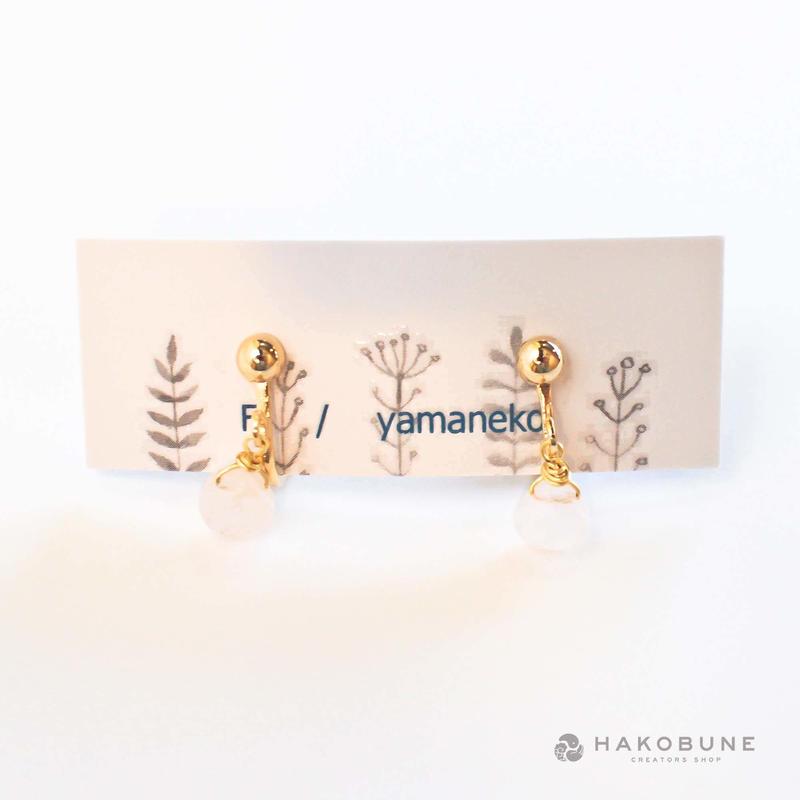 1150 ローズクォーツのイヤリング F.yamaneko