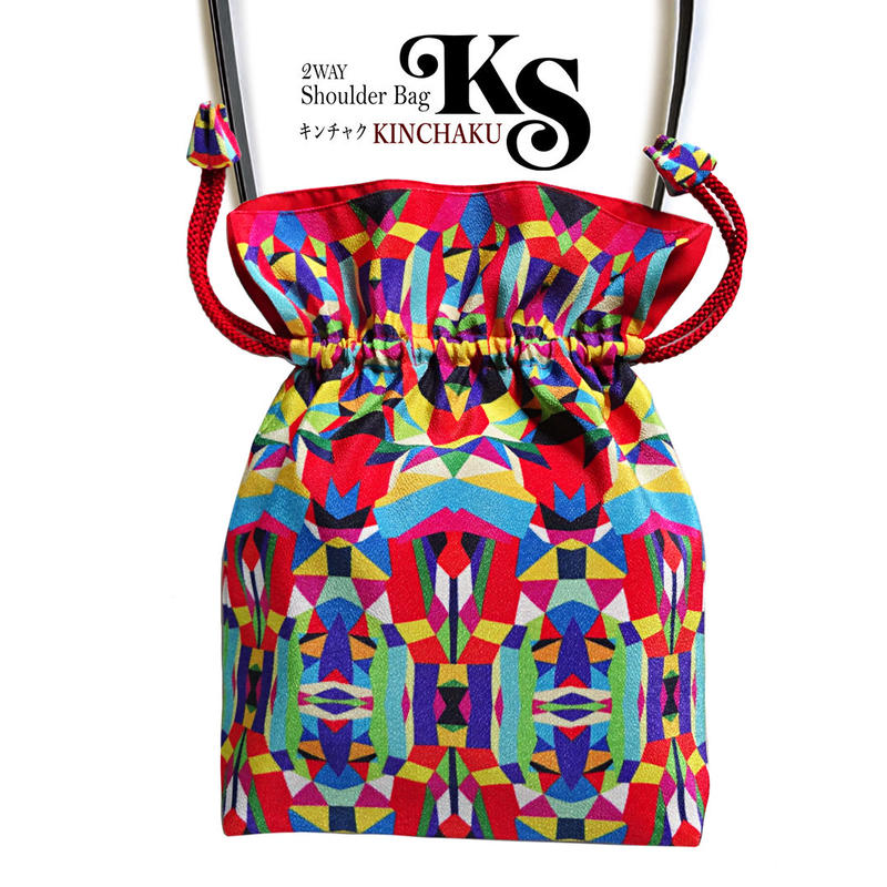 No.26 KSB★2WAY KINCHAKU 【 Hellow, Vivia! A 】本体内ポケット+Pポーチ付オリジナルプリント &ハンドメイド少数販売品