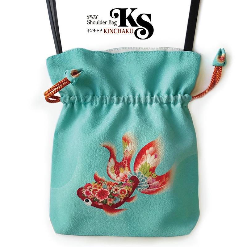 No.35 KSB★2WAY   Shoulder Bag KINCHAKU  【 Goldfish Red 】 【 赤金魚 】[内ポケット+ビニールポーチ付]