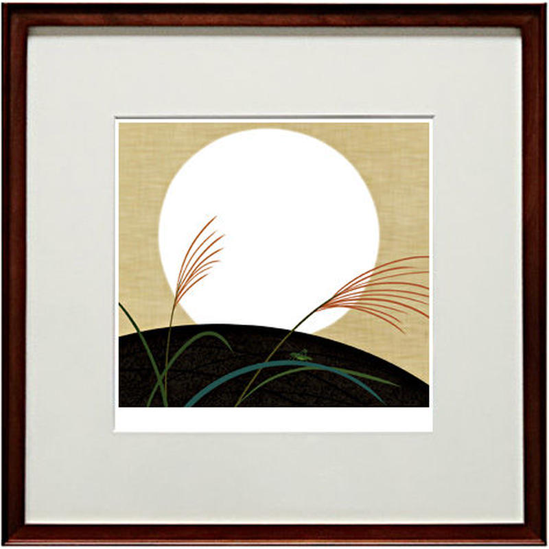 No.124★【白月】額装ジークレー版画(デジタルリトグラフ)