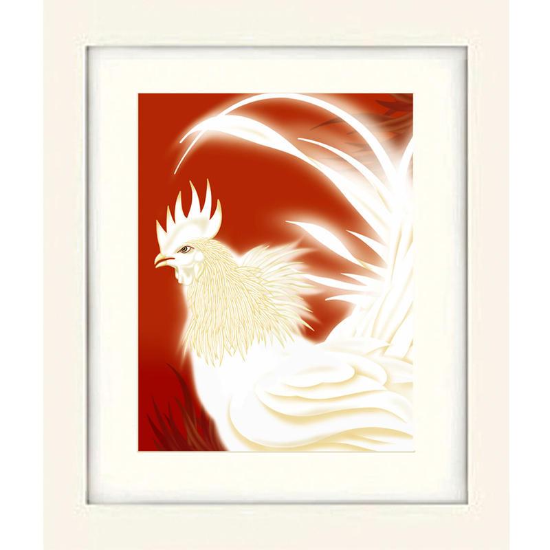 No.175★【 闘鶏 紅 】 四つ切りサイズ 額装ジークレー版画(デジタルリトグラフ)