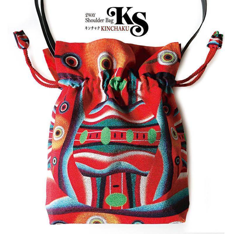 No.58 KSB★2WAY巾着ショルダーバッグ 本体内ポケット+Pポーチ付【 赤い顔 】オリジナルプリント&ハンドメイド少数販売品