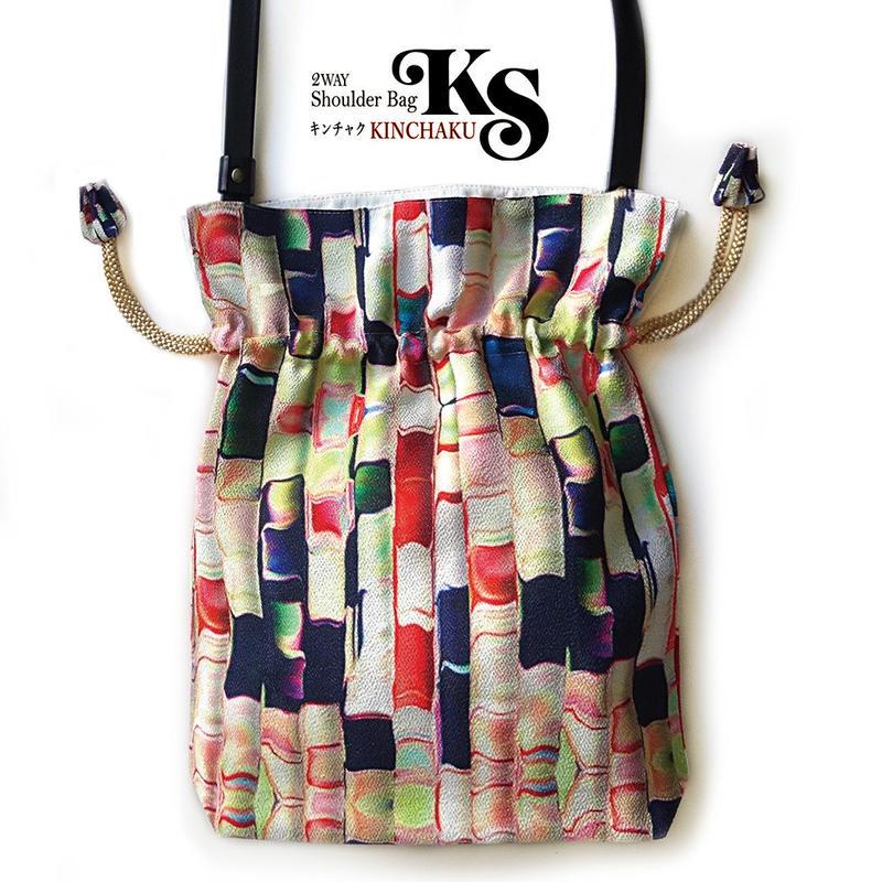 No.19 KSB★2WAY KINCHAKU 【あられ 本体にもポケット+Pポーチ付】オリジナルプリント &ハンドメイド 少数販売品