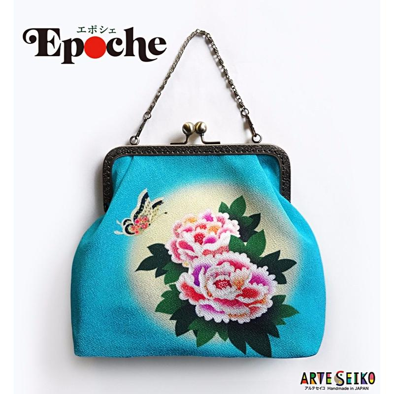 No.37 EP★2WAY Epocheエポシェ【Air Turquoise Blue】本体内ポケット+Pポーチ付オリジナルプリント&ハンドメイド少数販売品