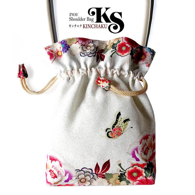 No.25 KSB-P★ 2WAY KINCHAKU 【花てふてふ】本体ポケットなしPポーチ付オリジナルプリント / ハンドメイド少数販売品