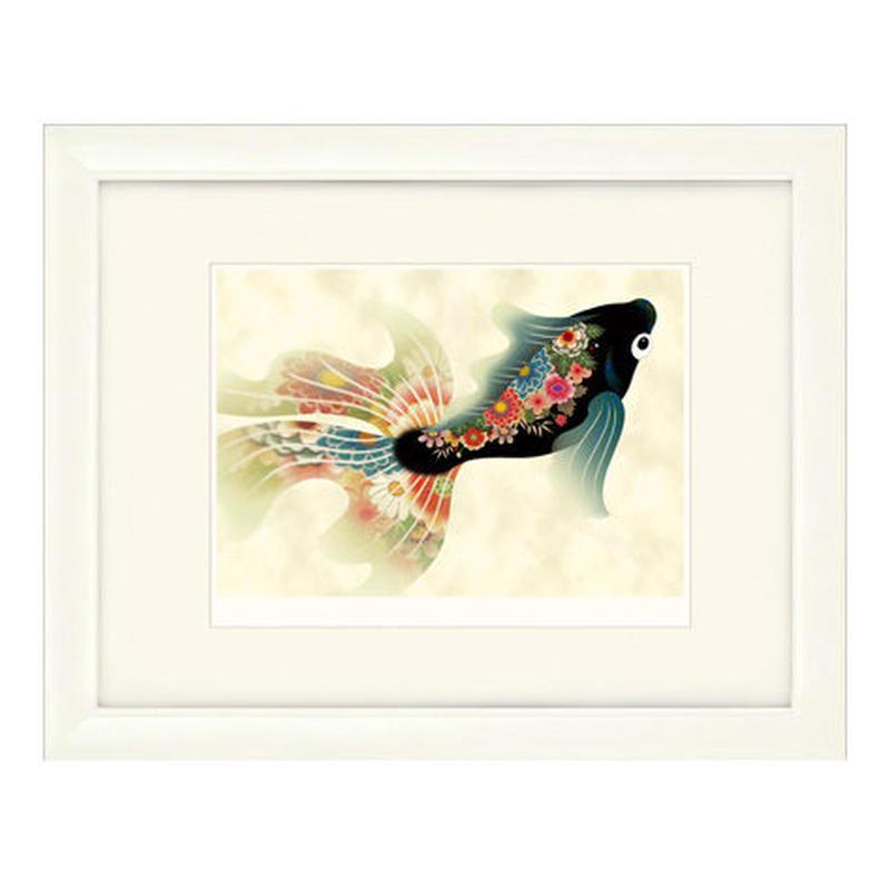 No.104★【金魚の夢】古色黒金魚 額装ジークレー版画(デジタルリトグラフ)