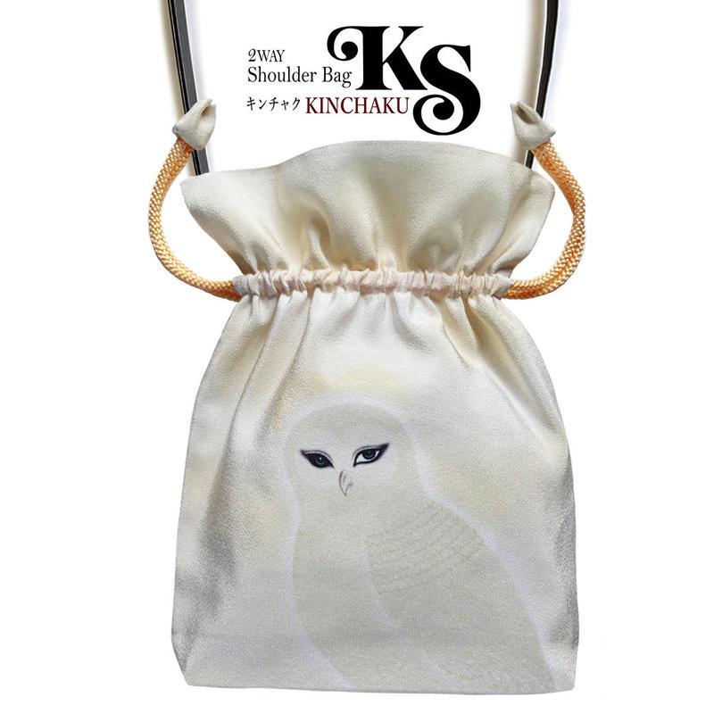 No.24 KSB★2WAY  KINCHAKU 【 The Message 】本体内ポケット+ Pポーチ付オリジナルプリント&ハンドメイド 少数販売品