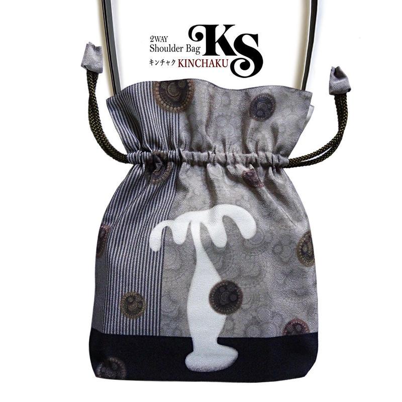 No.23 KSB★2WAY Shoulder Bag KINCHAKU 【White Palm】 巾着ショルダー バッグ【 ホワイトパーム 】[内ポケット+ビニールポーチ付]