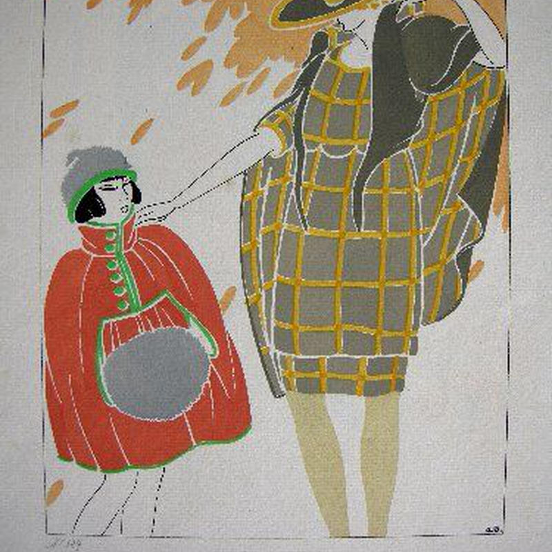 h:アール・デコのポショワール版画 1919=1920年制作  鉛筆でエディションNo324あり、作家 a.dの版上サイン有り