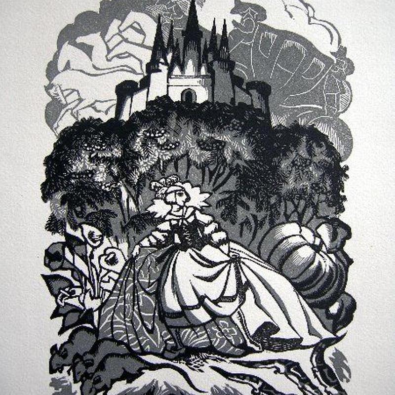 シンデレラ 1928年制作 木版画  送料無料