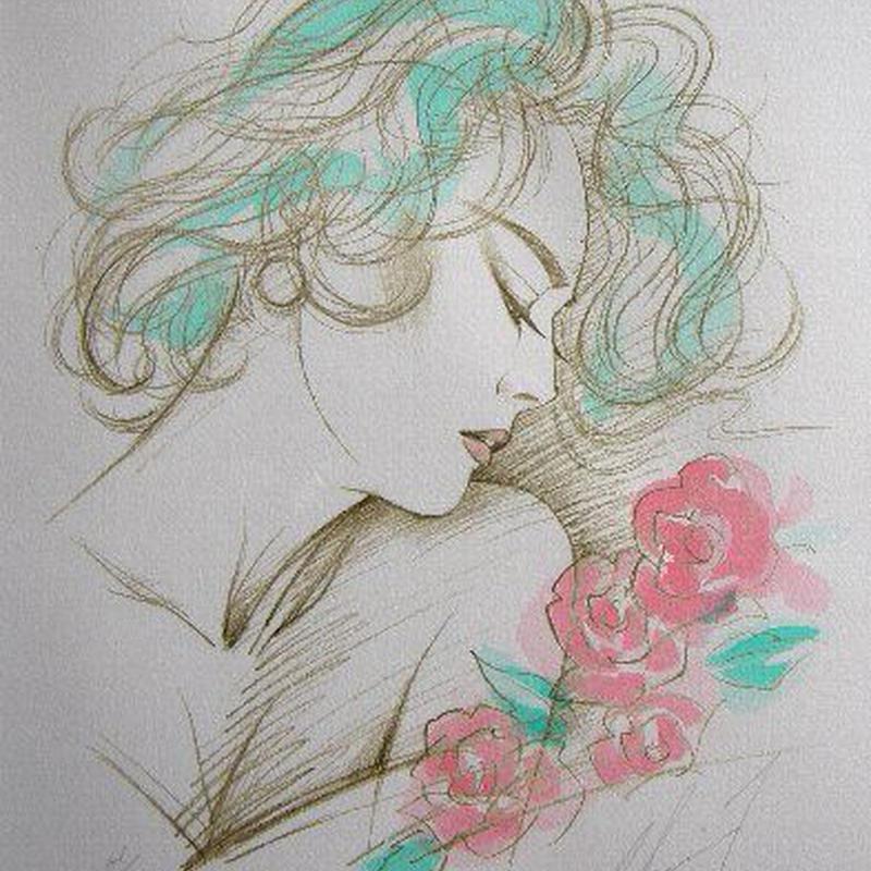 鶴田一郎のリトグラフ 新品 作品タイトル 「薔薇に抱かれて」   直筆サイン、限定100部      送料無料   *売却済み