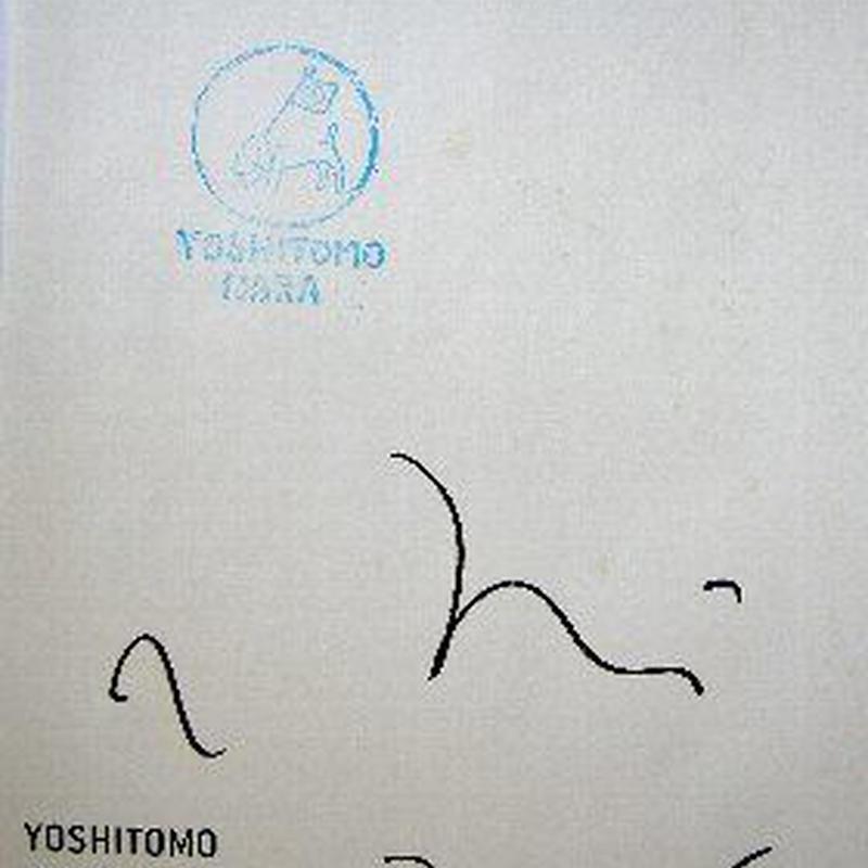 奈良美智ドローイングファイルBOOKの扉ページにピースフ ラ  ッグのスタンプと自筆サイン,ドローイングファイルBOOK本体と  展覧会チラシ、非売品ポスター付き。送料無料  :売却済み