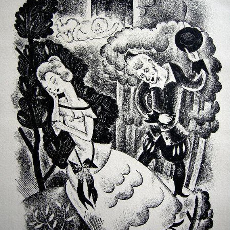 「巻き毛のリケ」1928年制作 木版画