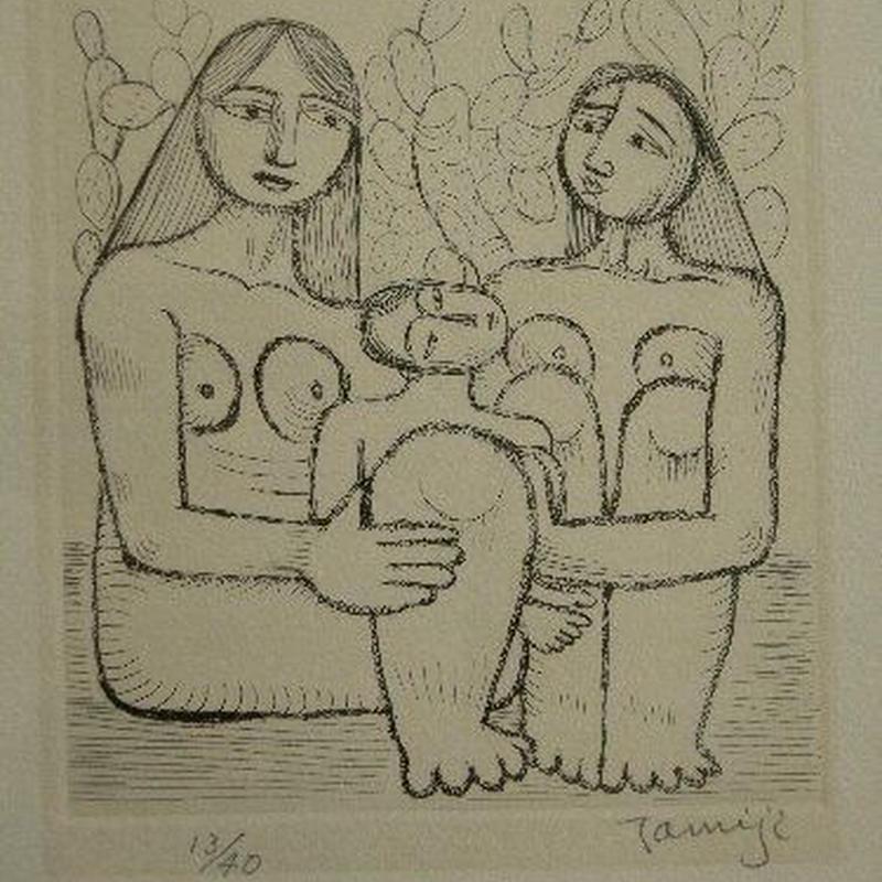 北川民次 銅版画 「子供を抱く二人の裸婦」