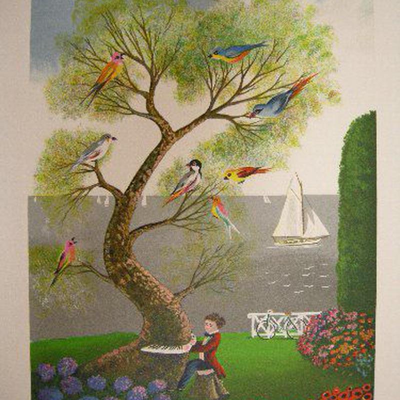 :リトグラフ ダニエル・ボネック 「魔法にかかった木」  シート