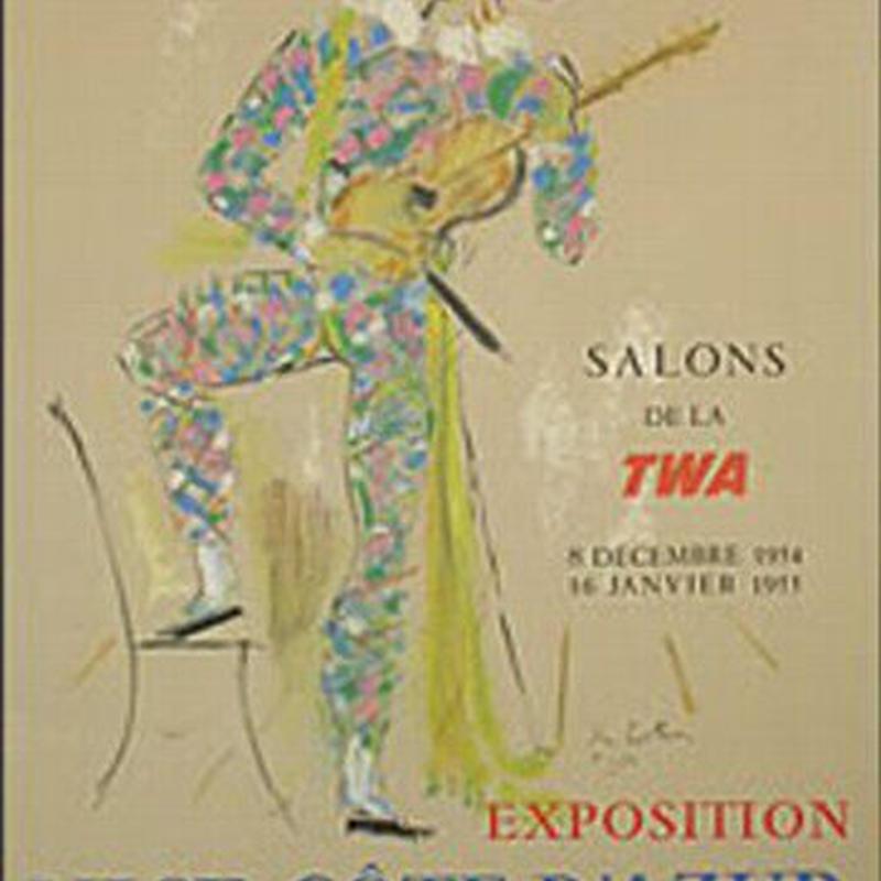 ジャン・コクトー 「ニース・コートダジュール」展 オリジナルリトグラフポスター  1954年