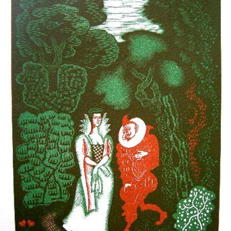 ペローの童話集 「愚かな願い」木版画 作家 アルフレッド・ラトゥール   送料無料