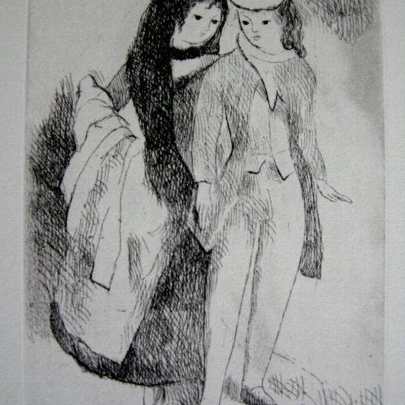 h-マリー・ローランサン 銅版画    送料無料