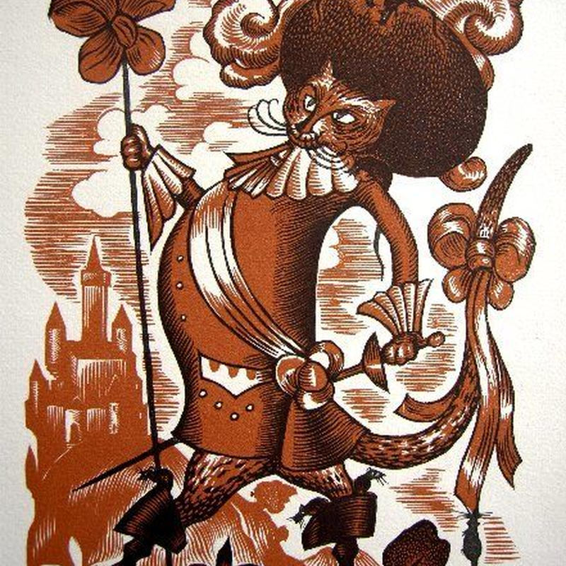 「長靴を履いた猫」 1928年制作 木版画   送料無料