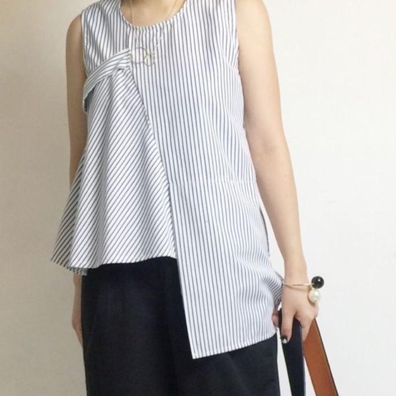 ストライプアシメシャツ 2col