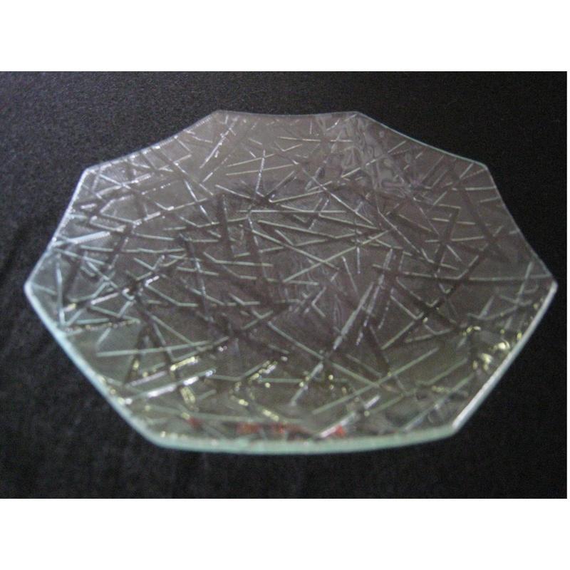 昭和型ガラス「まつば」 皿 八角形 小(Φ120mm)