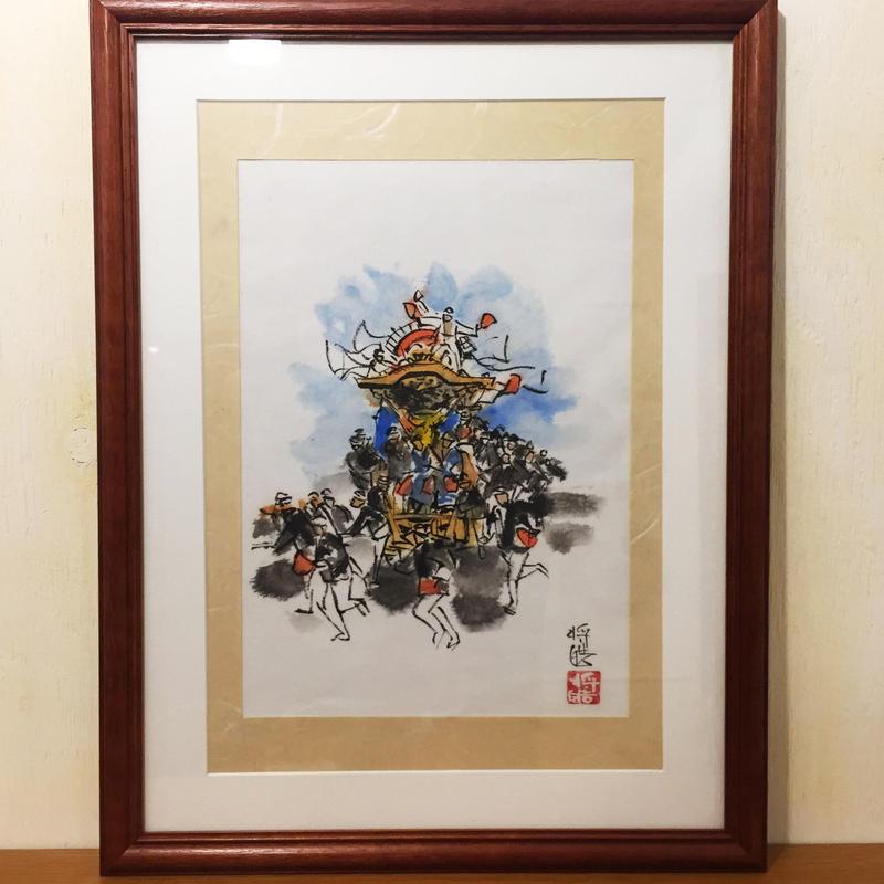 【手描きアート 原画】だんじり7 45.3cm × 35cm