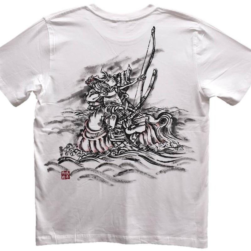 【手描きTシャツ】那須の与一 白 コットン生地