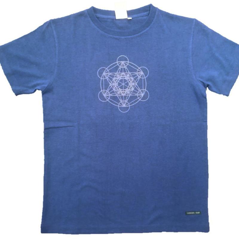 【Tシャツ】フルーツ・オブ・ライフ5 麻生地 ブルー 姫川薬石インク