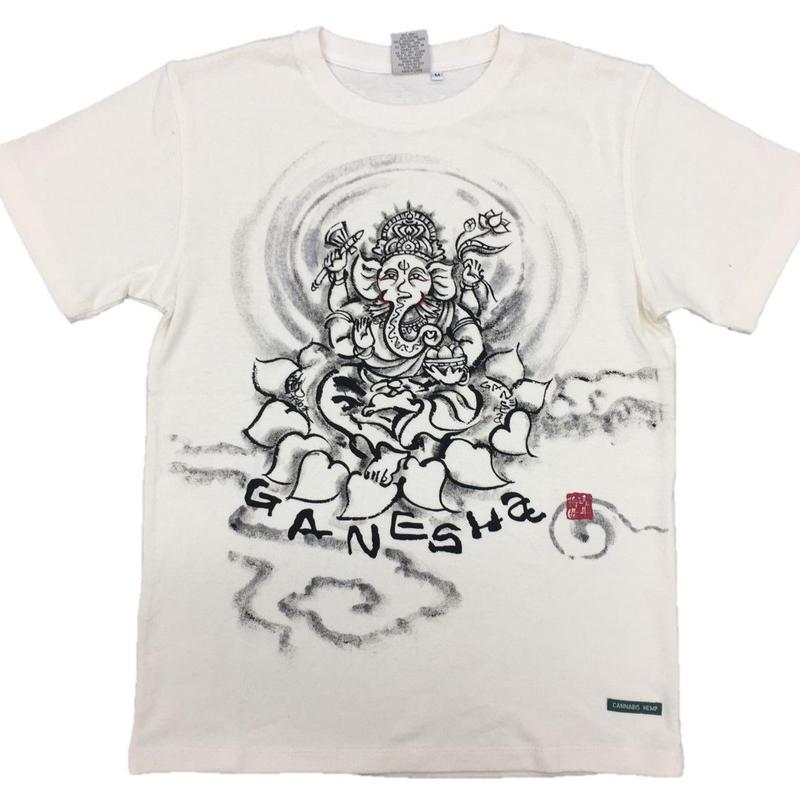 【手描きTシャツ】ガネーシャ イラスト前面  クリーム  麻生地