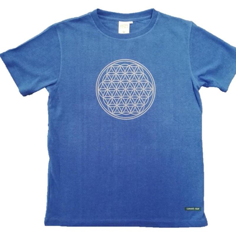 【Tシャツ】フラワー・オブ・ライフ1 麻生地 ブルー 姫川薬石インク
