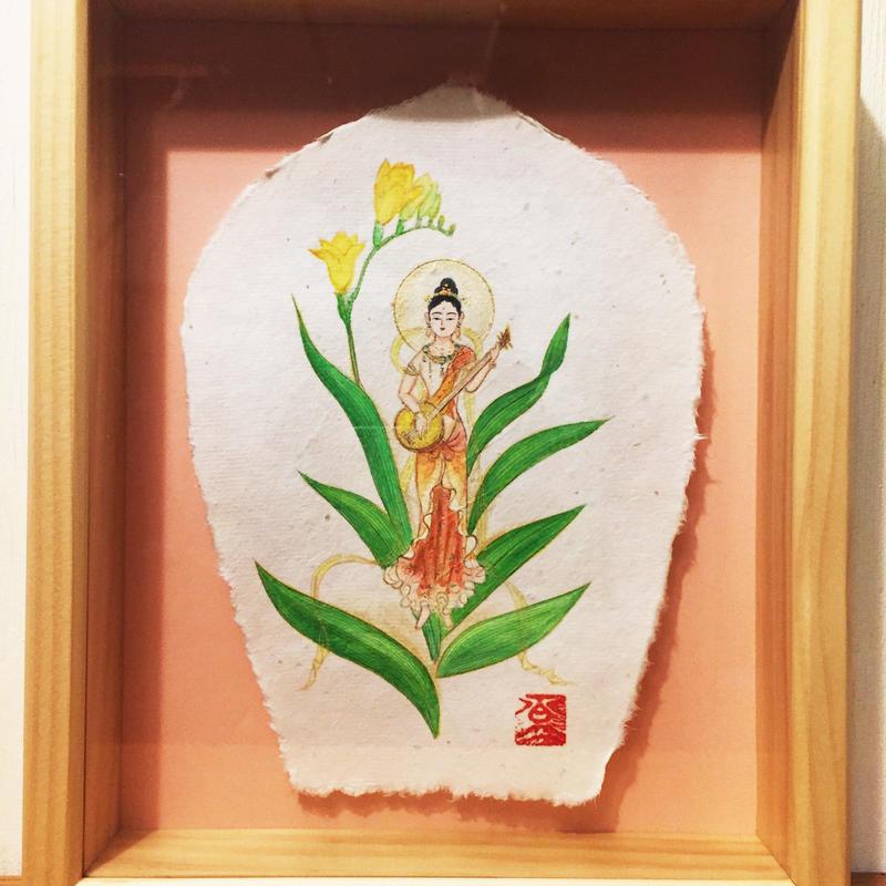 【手描きアート 原画】琵琶を奏でる花の妖精