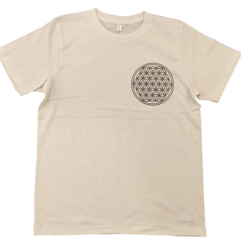 【ディスカウント】フラワー・オブ・ライフ3 コットン生地 麻炭インク100%  Mサイズ